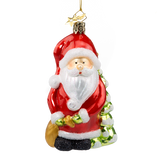 Santa with Bag and Snow Cover Tree Glass Ornament