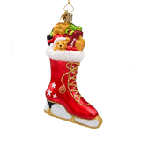 Red Ice Skate with Toys Glass Ornament