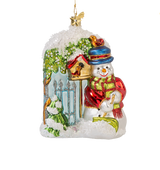 Snowman at the Garden Gate Glass Ornament