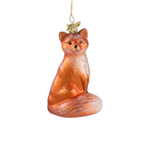 Sitting Fox Glass Ornament