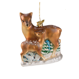 Doe with Fawn Glass Ornament