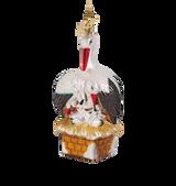 Stork Family Glass Ornament