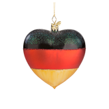 Heart German Flag Glass Ornament