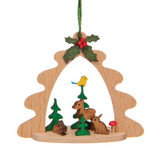 Tree Arch Wood Ornament with Deer