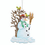 Snowman and Tree with Birds