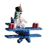 Winter Snowman on Airplane Wood Ornament
