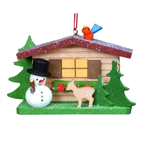 Cabin with Snowman Wood Ornament