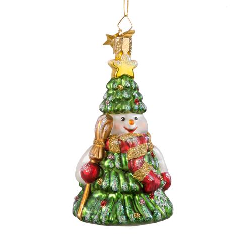 Snowman Tree Glass Ornament