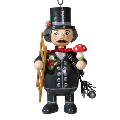 Chimney Sweep with Good Luck Mushroom Wood Buddy Ornament
