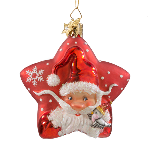 Santa on a Red Star Glass Ornament