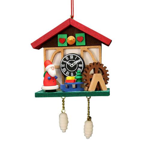 Cuckoo Clock with Santa Wood Ornament