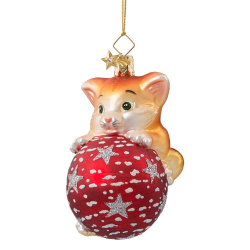 Kitty with Ball Glass Ornament