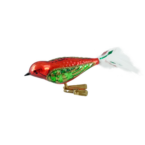 Red, Green and Gold Bird with White Tail