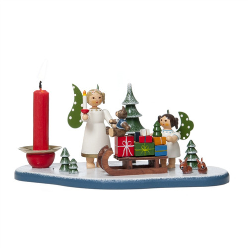 Angels with Sled Candleholder