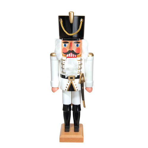 Hussar all in White with Sword Nutcracker