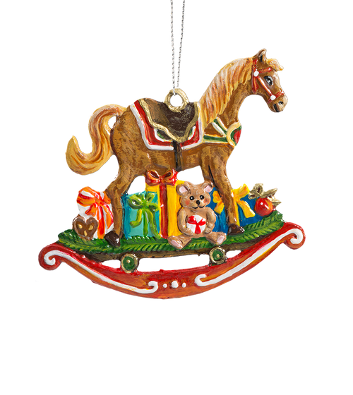 Rocking Horse with Toys Pewter Ornament