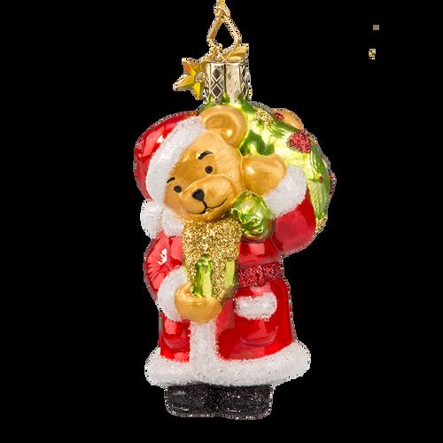 Teddy Bear Santa with Gifts Glass Ornament