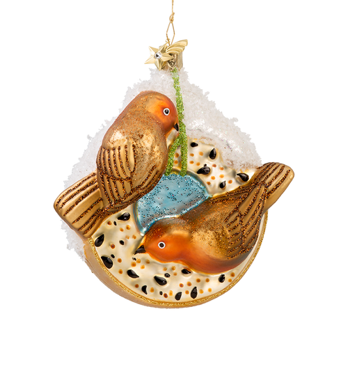 Bird Seed Wreath with Two Birds Glass Ornament