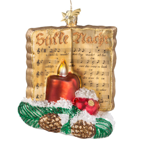 Silent Night Sheet Music Glass Ornament