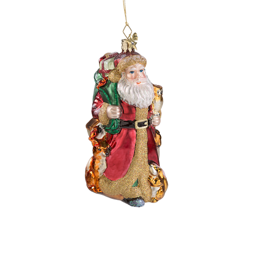 Santa in the Forest Glass Ornament