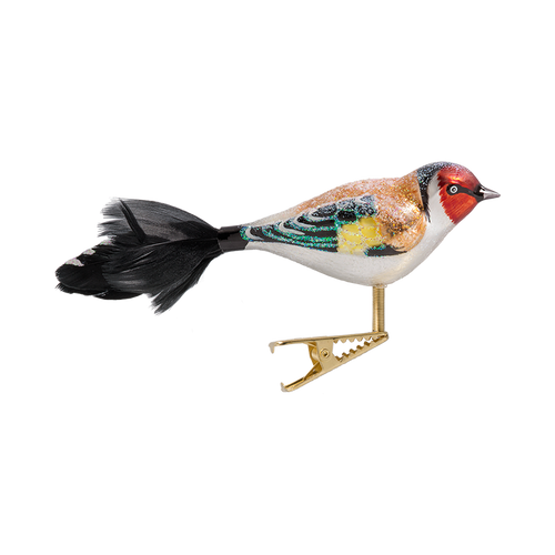 Goldfinch Bird Glass Ornament