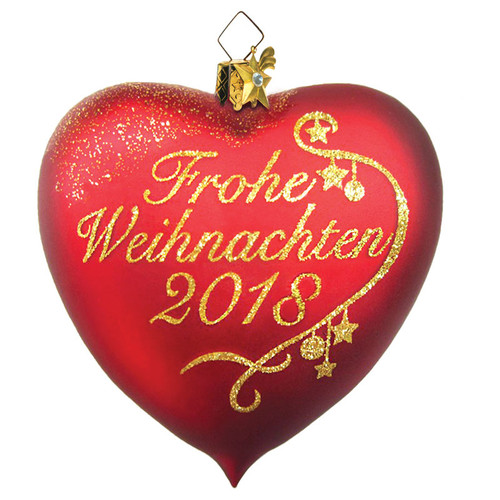 Frohe Weihnachten Glass Heart 2018 Ornament