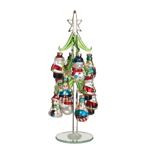 Glass Tree with Christmas Ornaments