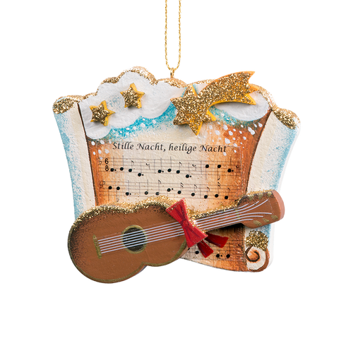 Silent Night Music with Guitar Wood Ornament