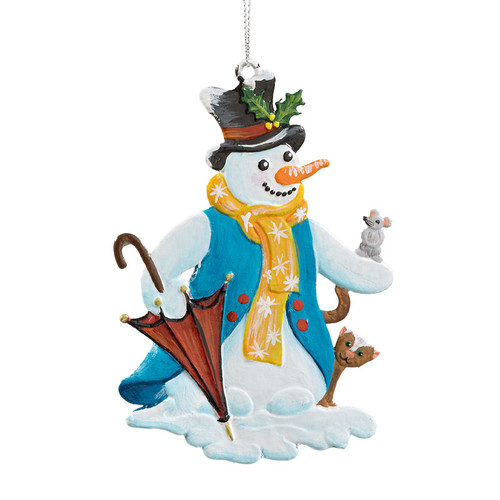 Snowman with Umbrella Pewter Ornament