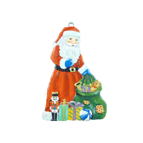 Santa with a Green Bag of Toys Pewter Ornament