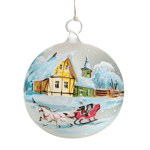 Sleigh Ride Glass ornament