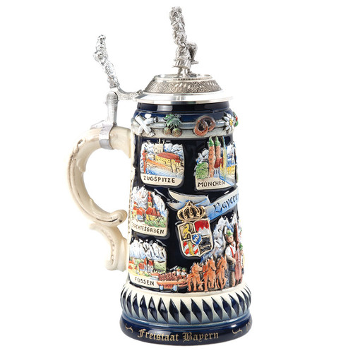 Bavarian with Dancing Couple Pewter Lid