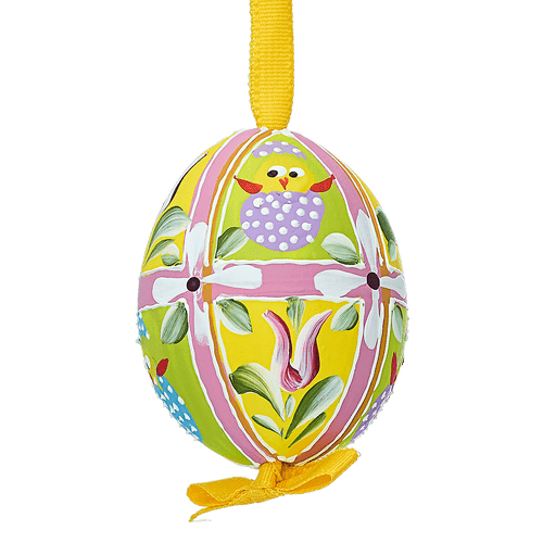 yellow and green Easter egg with chicks and flowers