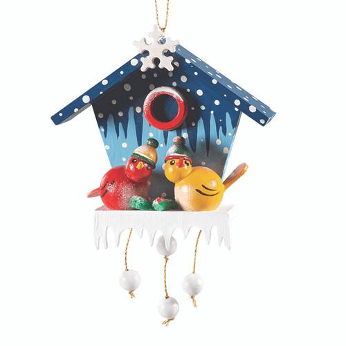 Winter Birdhouse with Birds with Caps