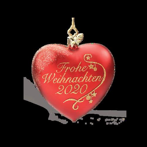 Frohe Weihnachten Glass Heart 2020