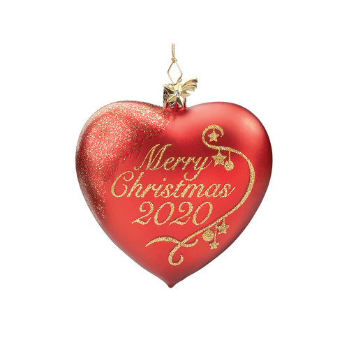 Merry Christmas Glass Heart 2020