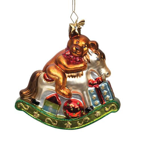 Teddy Bear on Rocking Horse Glass Ornament