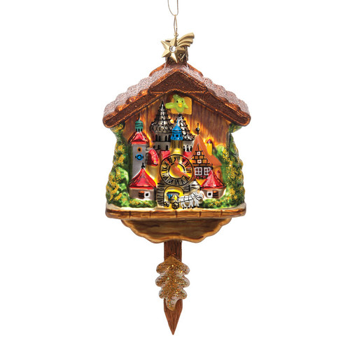Rothenburg Cuckoo Clock Glass Ornament