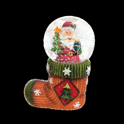 Stocking with Santa Snow Globe