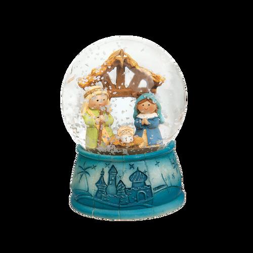Holy Family Blue Snow Globe