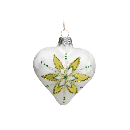 White with Green Flower Heart