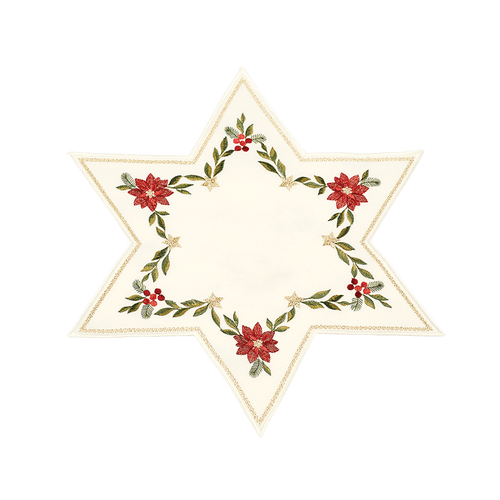 Gold Trim Poinsettia Star