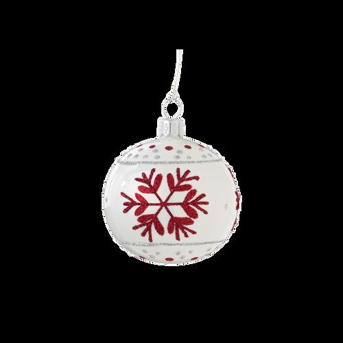 White & Red Snowflake Ball Small