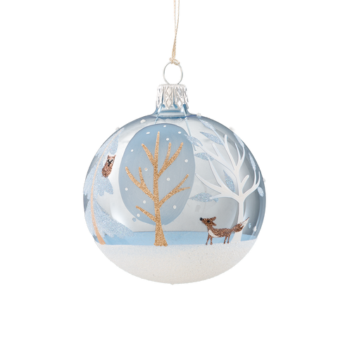 Blue Snowy Forest with Animals