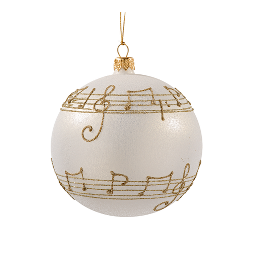 Cream with Gold Musical Notes Ball Large