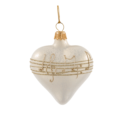 Cream with Gold Musical Notes Heart