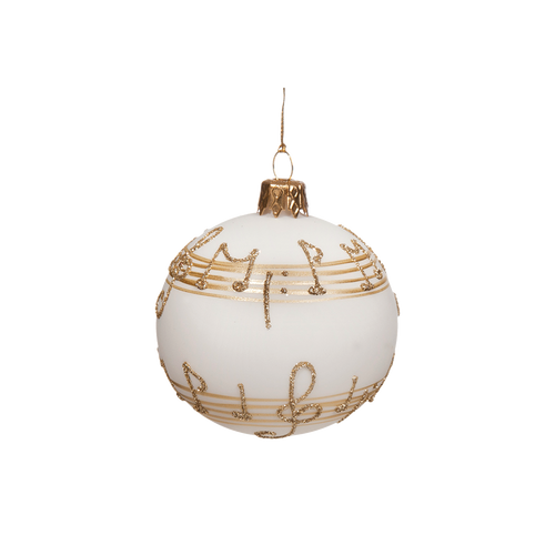 White with Gold Musical Notes Ball