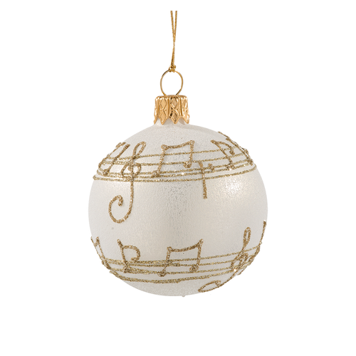 Cream with Gold Musical Notes Ball Small