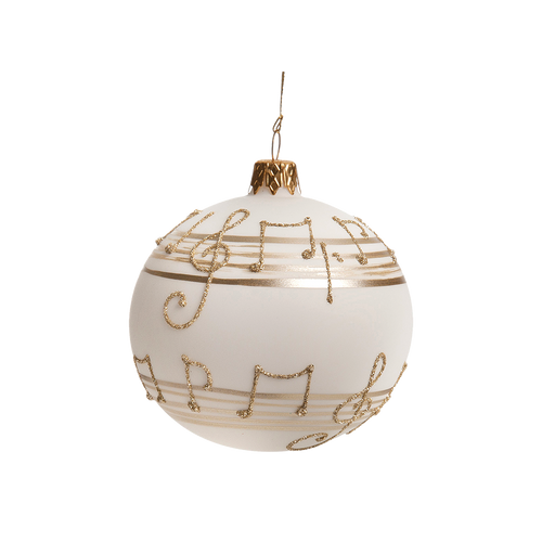White with Gold Musical Notes Ball Small