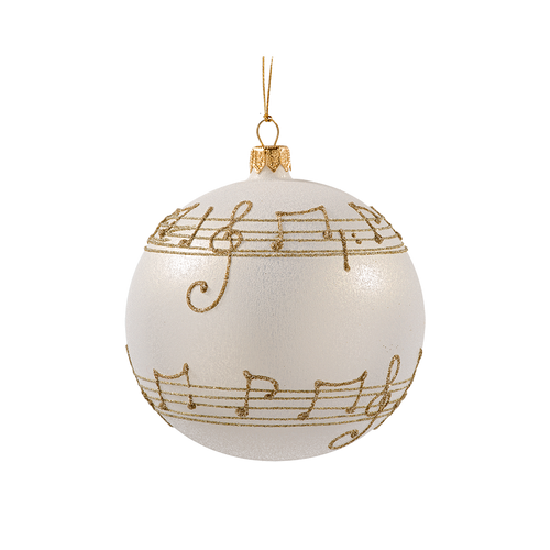 Cream with Gold Musical Notes Ball Medium